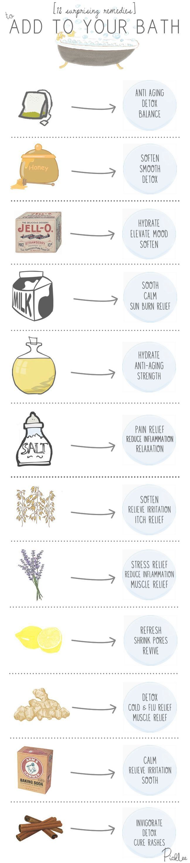 12 Everyday Ingredients to turn your Bath into a Home Spa #healthy #relax