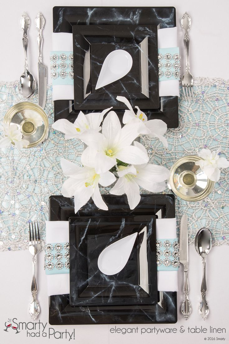 save on nice black u0026 white marble look square plastic plates for bridal shower inspiration holiday catering or wedding on a budget