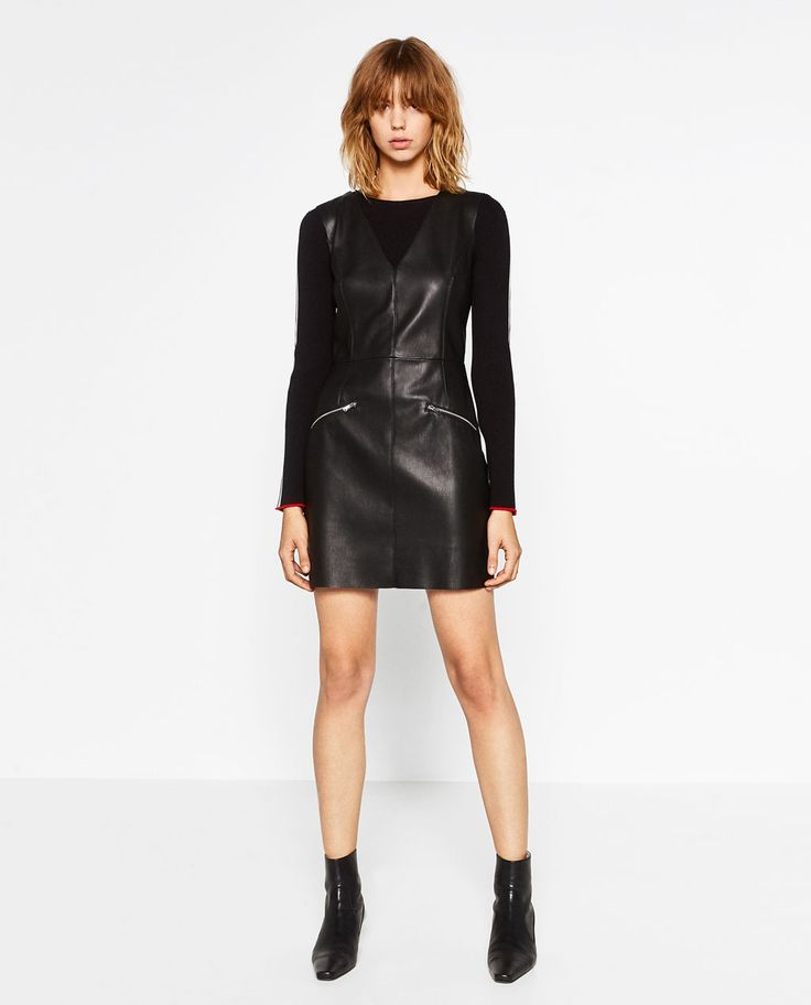 LEATHER EFFECT SHIFT DRESS-View All-LEATHER-WOMAN | ZARA United States