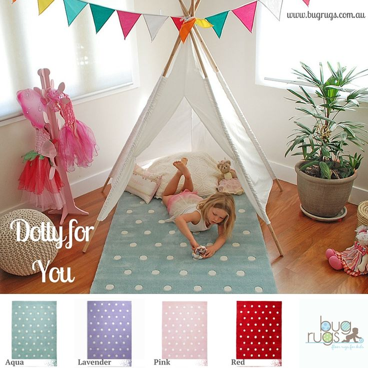 Dotty for You Kids Rug from BugRugs.  We are so, so dotty for these girl's rugs!  Available in pink, aqua, red and lavender....they are absolutely adorable in nurseries, bedrooms and playrooms.  These children's rugs are just too cute!