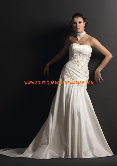Robe de mariée princesse asymétrique broderie