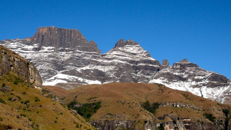 Cathkin Peak covered in light snow. Get close to the Berg. Central Drakensberg, Kwazulu-Natal, South Africa.