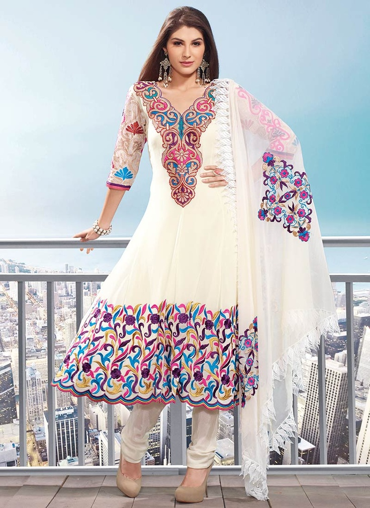 Resham Georgette Churidar Suit : Cbazaar