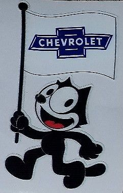 Felix The Cat Chevrolet Flag Die Cut Decal Chevy Bomb Lowrider