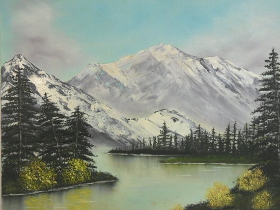 Original Oil Painting Snow Covered Mountains Lake 16 x 20
