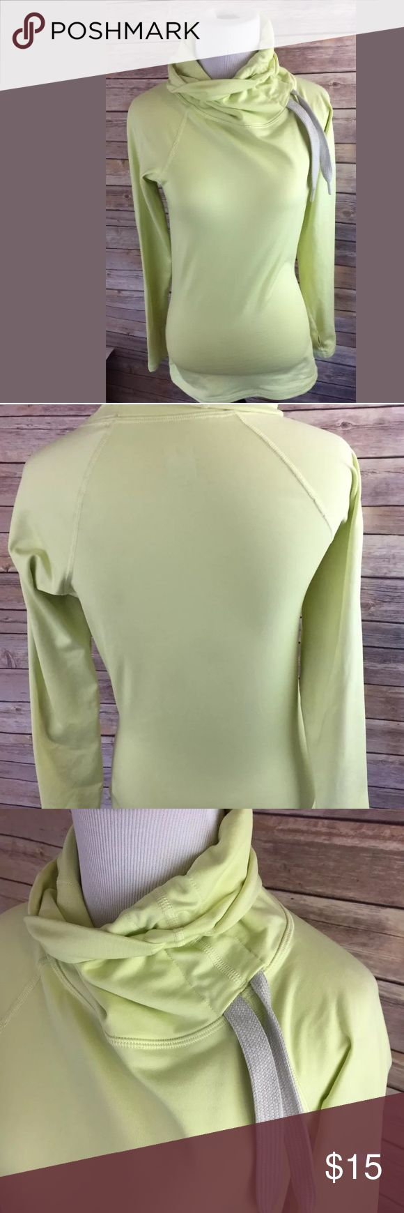 """Nike Pro Woman's Sport Yellow Pullover Shirt SZ S Measurements: Armpit to armpit laying flat 17"""" Length from top of shoulder to bottom of shirt 26"""" Material: Polyester Nike Tops Sweatshirts & Hoodies"""