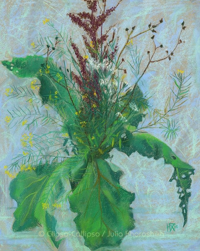 New  work on @Redbubble - Burdock leaves and autumn herbs  Autumn bouquet,  wide green burdock leaves, brown sorrel and some herbs with tiny yellow and white flowers. Modern floral art, life drawing in impressionist style, pastel painting, soft pastels on paper, 47 x 59 cm, 2016 © Clipso-Callipso / Julia Khoroshikh  #redbubble #redbubbleart #artprint #floral #floralart #floralprint #pastelpainting #softpastels #pastels #burdock #wildflowers #modernart