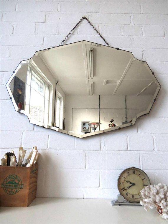 Vintage Large Bevelled Edge Wall Mirror Frameless Mirror Lovely Shape WOW