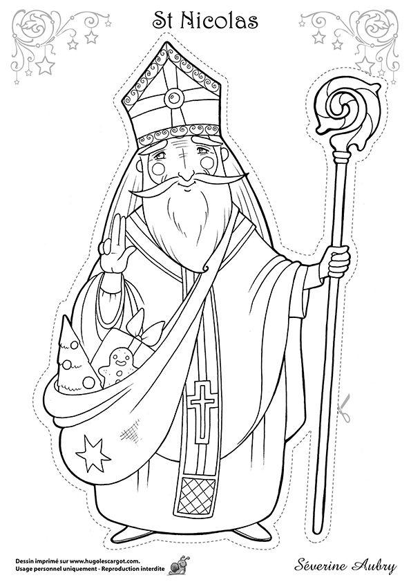 Dessin à colorier d'un des héros de Noël, St Nicolas - Hugolescargot.com