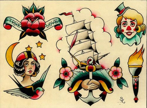 Flash 8 by Brian Kelly Rose Swallow Tattoo Designs Canvas Art...