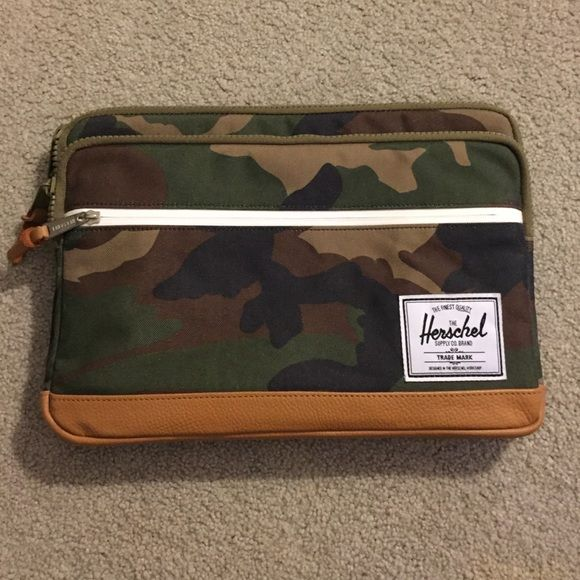 "13"" MacBook Sleeve by Herschel Fully padded and fleece lined two panel sleeve for 13"" MacBook laptop. Camo design with brown leather trim. Barely used. Herschel Supply Company Bags Laptop Bags"
