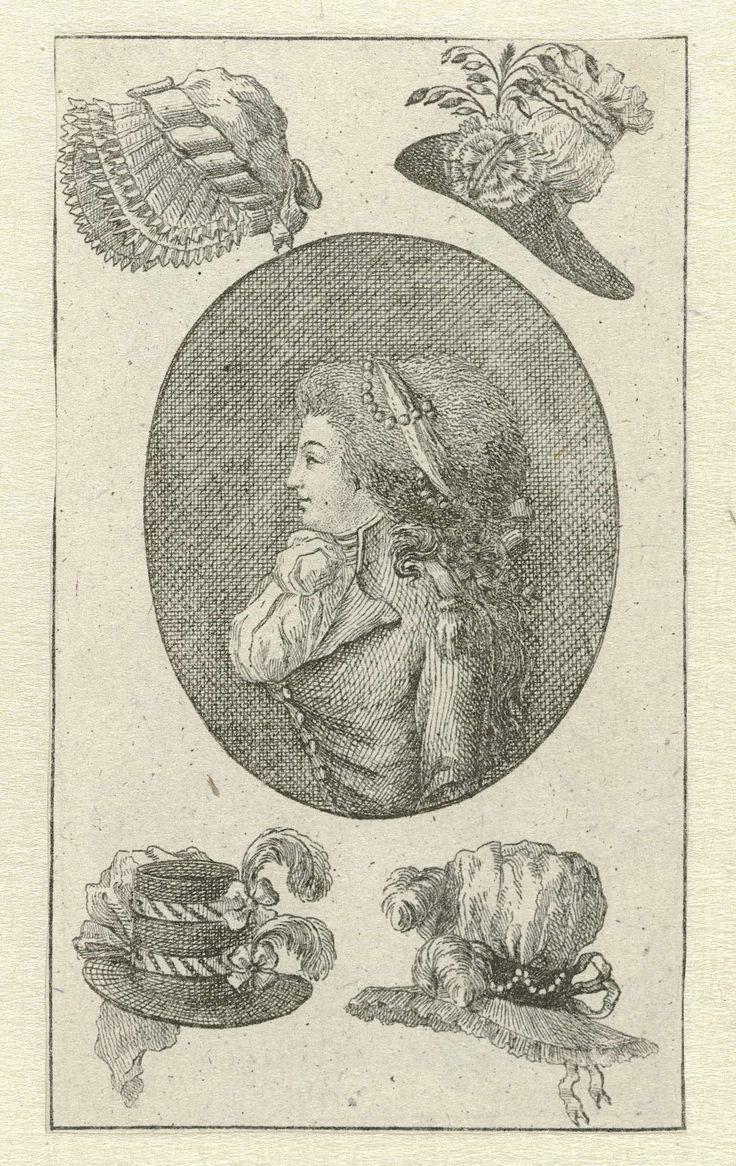 Almanakprentje uit  ca. 1787-'88.: Vrouwenbuste in ovaal waaromheen vier hoeden, anonymous, c. 1787 - c. 1788