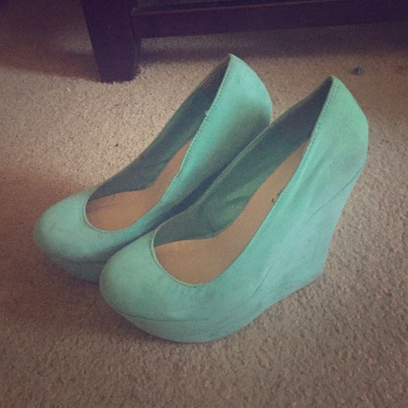Teal wedges Sturdy wedges, slightly used, super comfy Breckelles Shoes Wedges