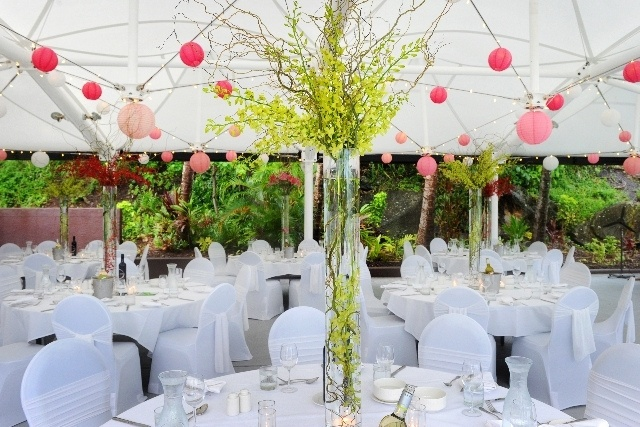 Hanging paper lanterns and fairy lights at a wedding at the Outrigger Centre on Hamilton Island by idoevents, via Flickr