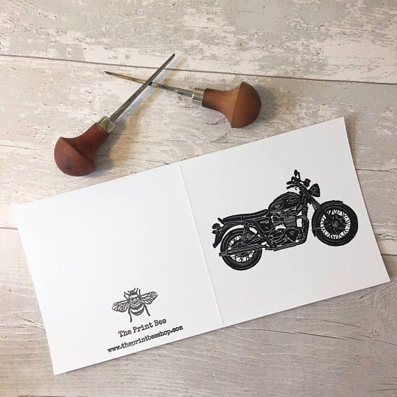 Triumph Bonneville greetings card Vintage motorbike Retro
