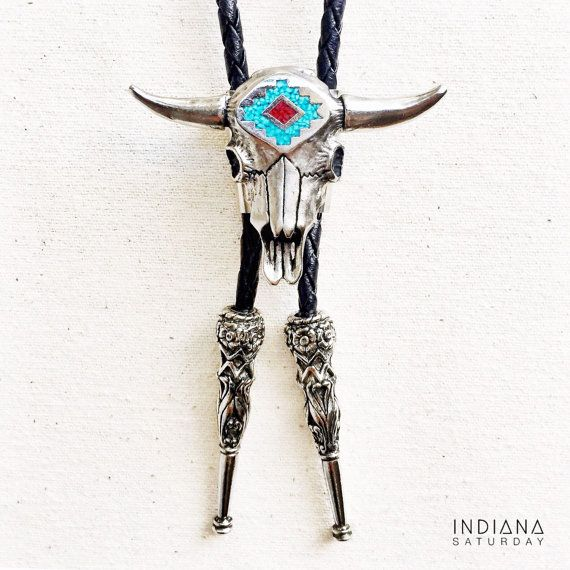 Genuine Turquoise BOLO TIE with Cow Skull Coral by INDIANASATURDAY