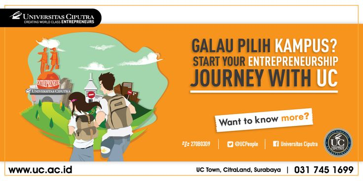 Start Your Entrepreneurship Journey with UC. Open Enrollment now. visit www.pmb.uc.ac.id
