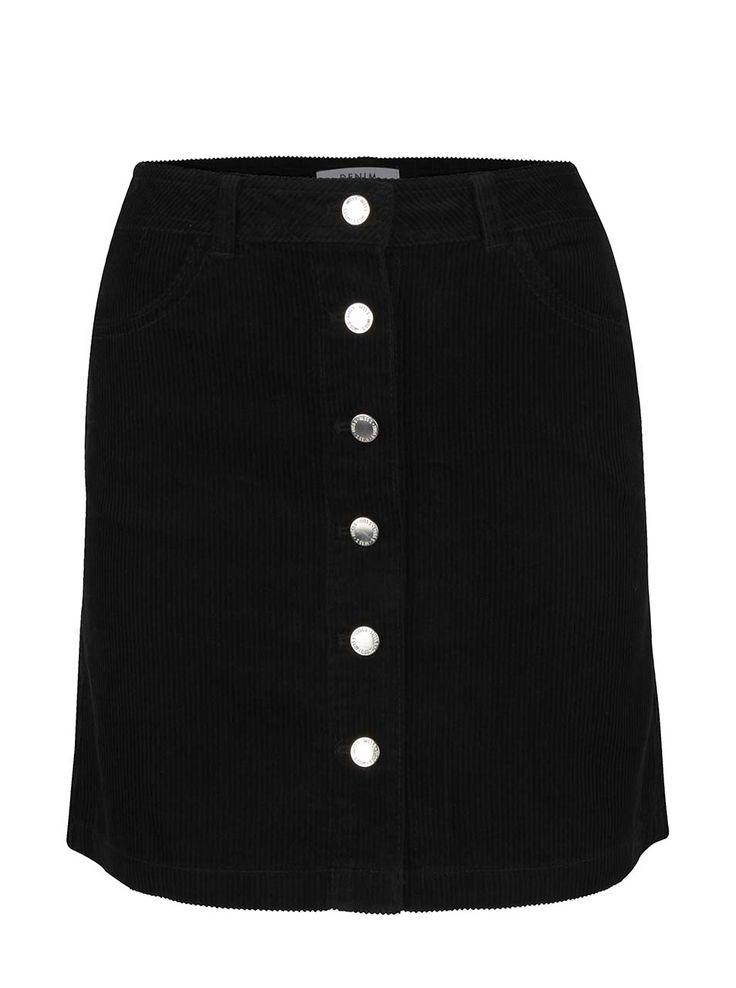 Černá manšestrová propínací sukně  Miss Selfridge