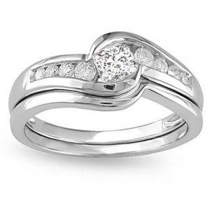 0.5 Carat Princess Cut Diamond Wedding Ring Set On 10K White Gold