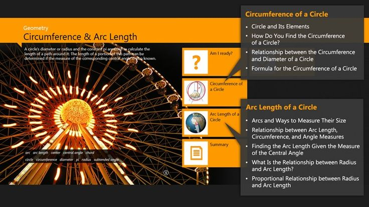 Adaptive Curriculum - Geometrics: Circumference and Arc Length // Get ready to enter the AC Vbook library and start your technology-based learning adventure with Circumference and Arc Length. Experience the world of standards-based textbook content with highly interactive explorations, visual explanations and exercises—all focused on understanding a mathematical concept.