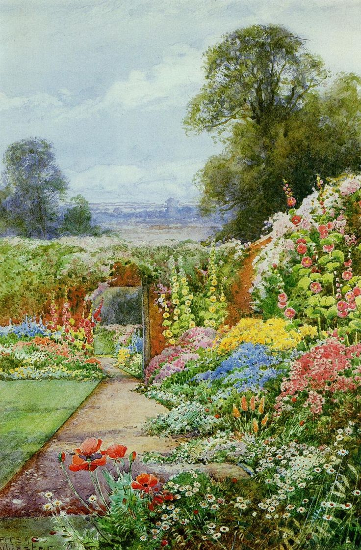 English country garden paintings -  Summer Garden Theresa Sylvester Stannard