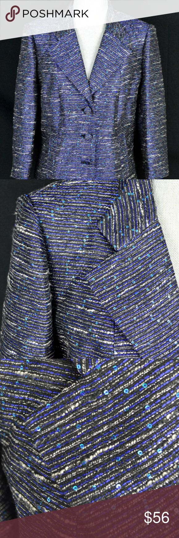 "Kay Unger 3 button jacket blazer in size 14 A new with tags Kay Unger 3 button jacket blazer in size 14. Blue, black and white stripes with blue sequins. Comes with extra button.  Dimensions:-      Length:- 22.25""     Chest:- 20.25""     Shoulder:- 16.5""     Sleeve:- 19""  Thanks for viewing! Kay Unger Jackets & Coats Blazers"