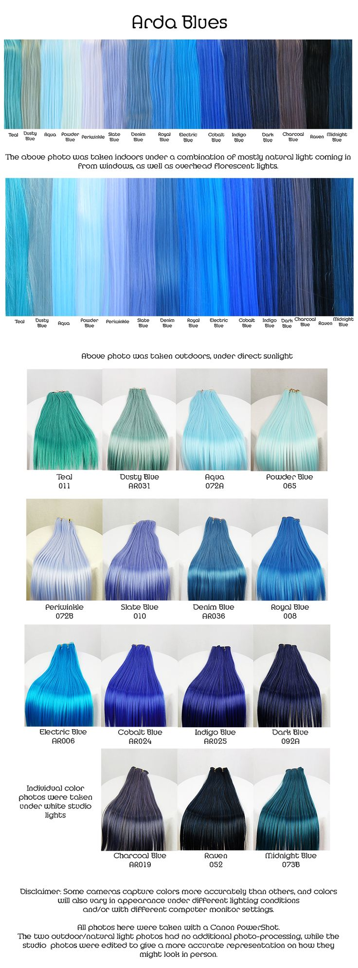 Arda blues, wig fiber color pallette.                                                                                                                                                      More