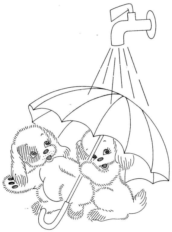 Vintage Hand Embroidery PATTERN PDF File 7259 Adorable Puppies for Kitchen Dish Towels 1940s Instant Download