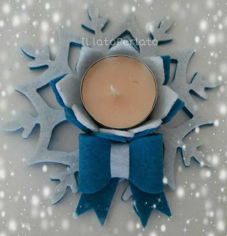 Il lato Perlato: Portacandela fiocco di neve in feltro blu e bianco
