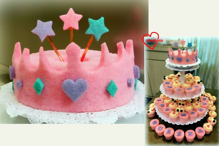 Loving Creations for You: Queen's Crown Chiffon Cake (and Cupcakes) for Baby...