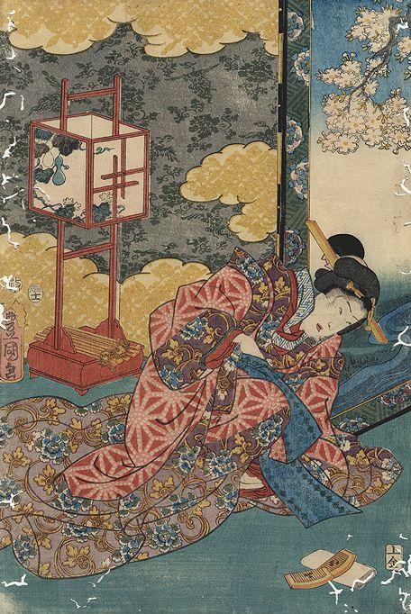 Kunisada-Toyokuni III Courtisane agenouillée