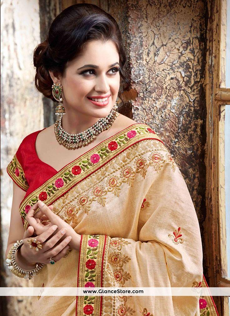 Scintillating Beige Embroidered Work Classic Designer Saree