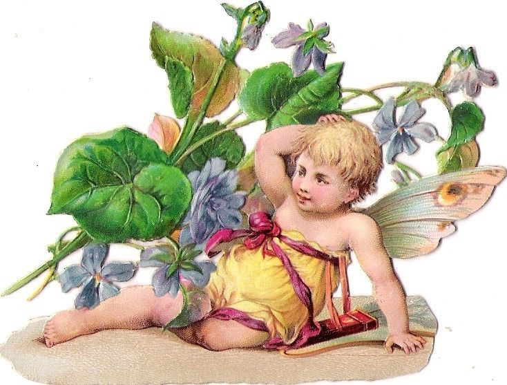 Oblaten Glanzbild scrap die cut chromo Engel angel Elfe elf Blumen Kind child