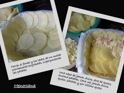 MILHOJAS DE PATATAPelar las patatas y cortarlas con mandolina en rodajas muy finas.  Fforrar un molde con papel vvegetal, engrasarlo con aceite de oliva. Colocar las patatas superponiéndolas, en la base y los lados del molde. Poner sobre la base de patatas dos lonchas de jamón dulce, encima queso rallado, otra capa de patatas, otra vez jamón dulce, queso, patatas y por último cubrir con más queso rallado. Espolvorear con pimienta recalentar el horno (solo la parte de abajo) a 170º y 45m