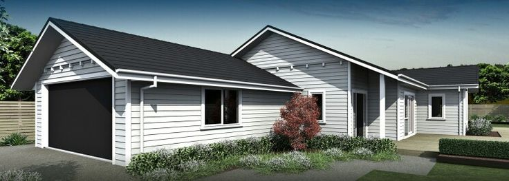 Grey weatherboard with white box corners exterior design for Weatherboard garage designs