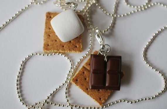 Wish | Smore Best Friend Necklaces, MIniature Food Jewelry, Polymer Clay Food Friendship Necklaces