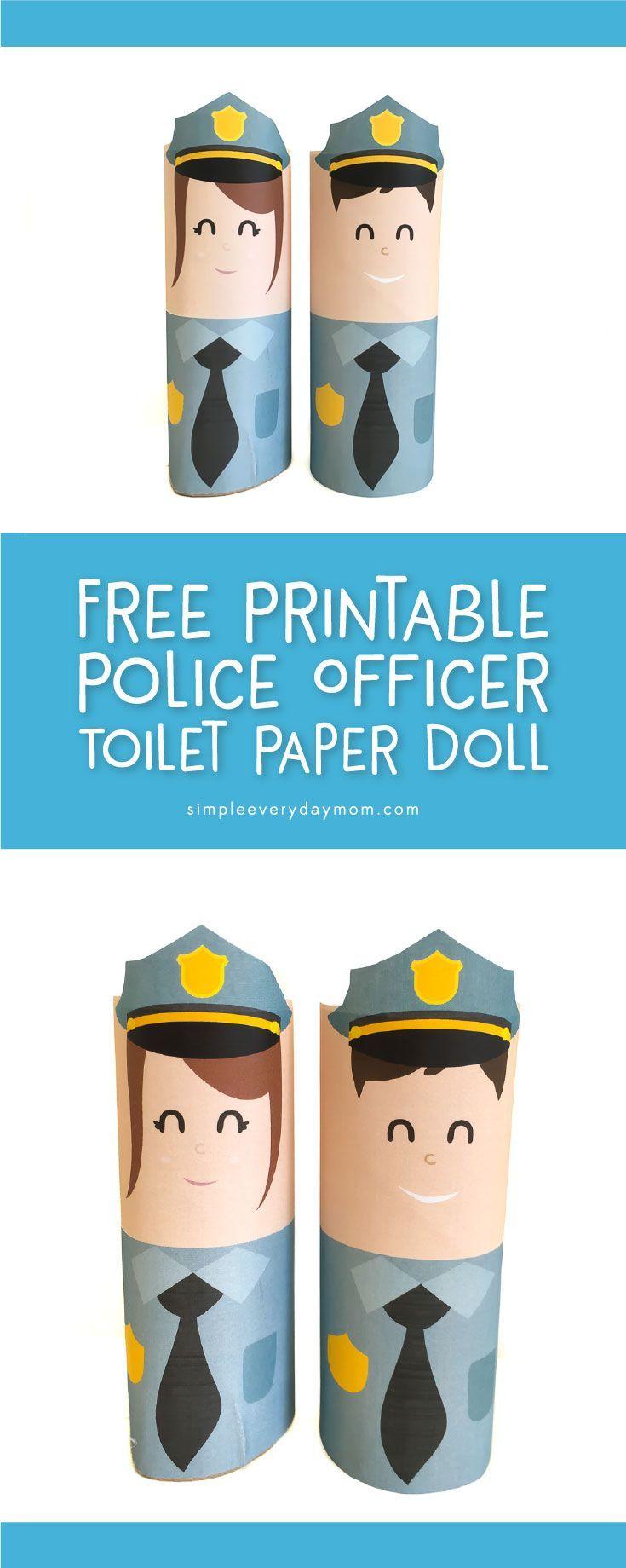 free printable community helpers craft | police officer doll for #preschool, #kindergarten #kidscrafts