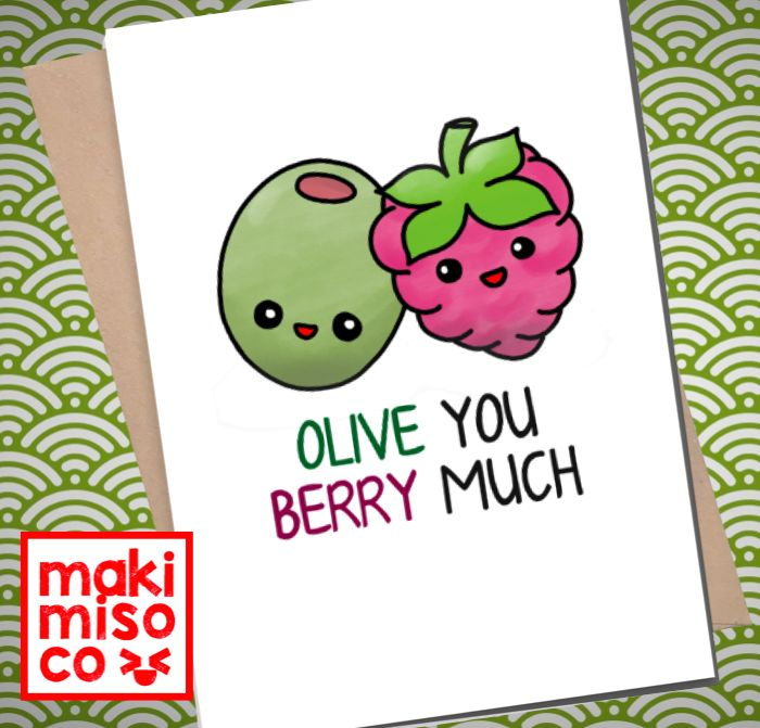 OLIVE You BERRY Much Greeting Card – Love birthday Boyfriend Girlfriend Print Anniversary Friend Cute Animal Pun Food Couple valentines
