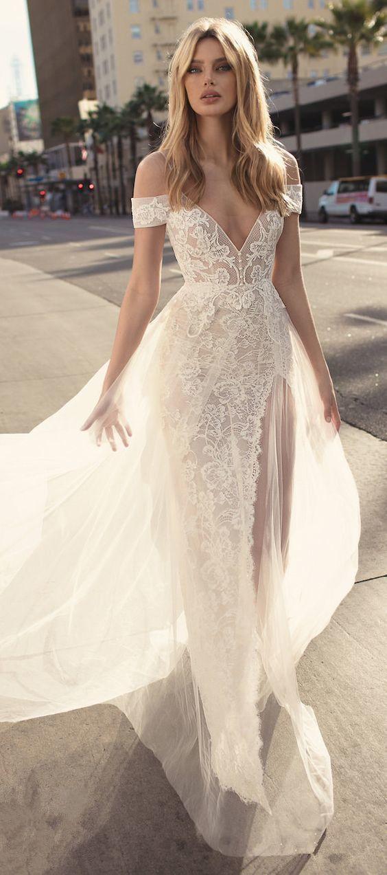 Gorgeous Stunning Bohemian wedding dress beach by ModelDressy on