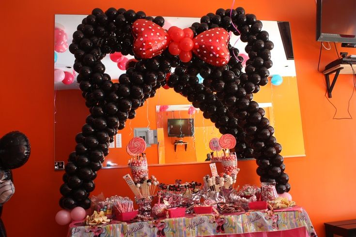 Minnie mouse balloon arch umoja events balloon arches table free standing pinterest