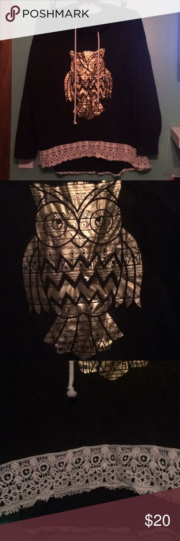 Owl hoodie Gray lightweight hoodie with gold foil owl and lace trim. Boutique purchase. Tops