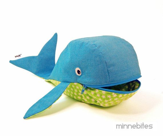 Blue Whale Bag by MinneBites / Handmade Gift for by minnebites