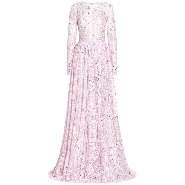 Georges Hobeika Long Sleeves Sequined Gown ($6,255) ❤ liked on Polyvore featuring dresses, gowns, pink, floral evening gown, floral evening dresses, sequin evening dresses, sequin evening gowns and long sleeve lace dress