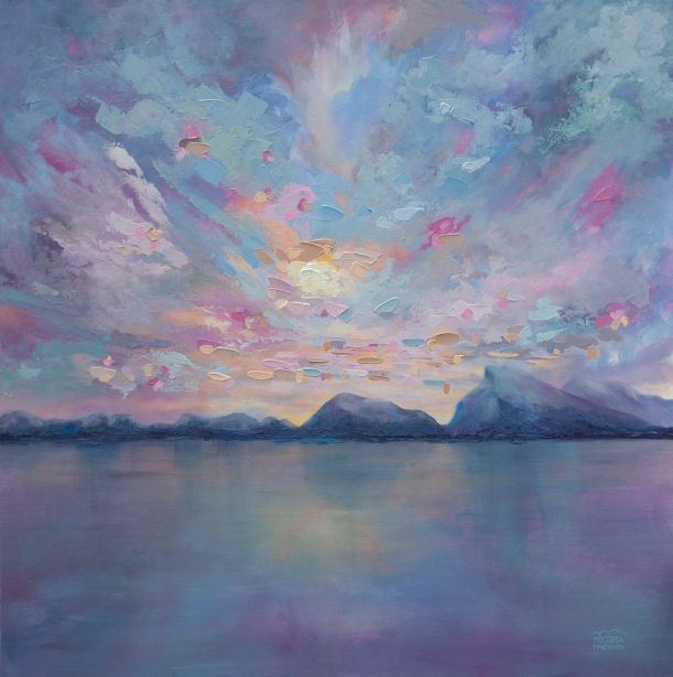 """Rundle Sky"" 36""×36"" Contemporary Abstract Landscape Artist Melissa McKinnon features BIG COLOURFUL PAINTINGS of Aspen & Birch Trees, Rocky Mountains and stunning views of the Canadian prairies, big skies and ocean beaches. Be the first to hear about NEW PAINTINGS, works in progress and news from my studio,  Sign Up For My Monthly EMAIL NEWSLETTER: http://eepurl.com/rqj-L  Website & Blog: www.melissamckinnon.wordpress.com"