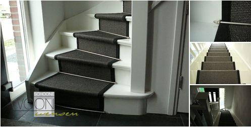Schoone Woonwensen Home > Warme vloeren > traploper antraciet sisal zwart band en rvs roede