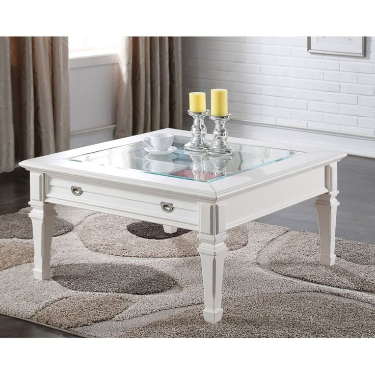 Benzara soothing square coffee table with drawer coffee
