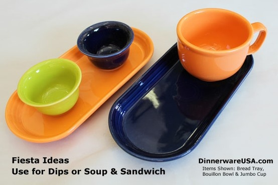 Use Fiesta bread trays to create soup and salad plates and dipping trays. Love this!!