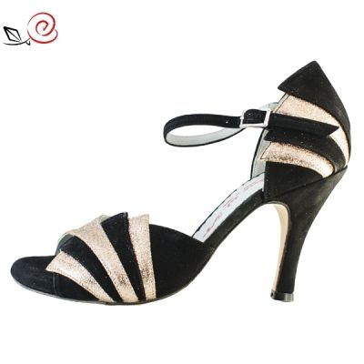 Women's tango shoes in black suede and gold glitter fabric