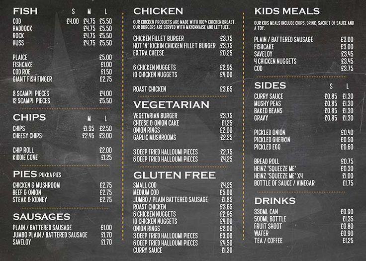 The Fish and Chip Shop - Stevenage (side 2) Double sided A4 menu design by Design Freak #food #chips #fish #burgers #design #GraphicDesign #menu #restaurant #takeaway #leaflet #poster #inspiration #designfreak
