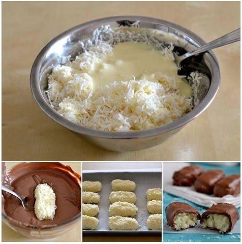 Bounties: 1 blik geconcentreerde melk mengen met 200 g gerapste kokos. In stroken op bakpapier leggen, afdekken met folie. Nachtje in koelkast. In rechthoekjes snijden en half uurtje in diepvriezer leggen. 300 g chocolade smelten in magnetron, kokosbars erdoor scheppen.